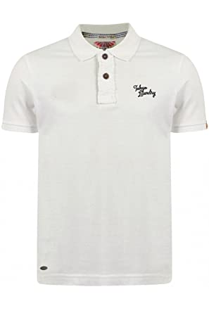 Tokyo Laundry Herren Button-down Poloshirt, Einfarbig weiß weiß Small Gr.  Größe-
