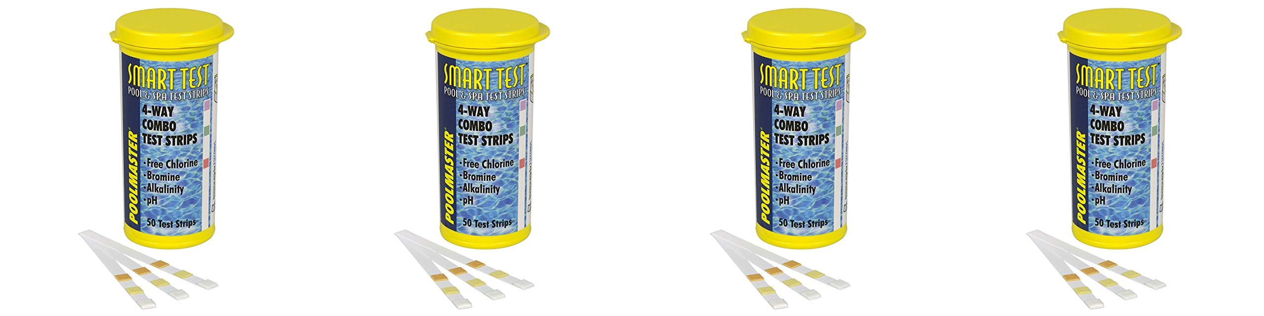 Poolmaster 22211 Smart Test 4-Way Swimming Pool and Spa Water Chemistry Test Strips, 50 Count - Pack 4 by Poolmaster
