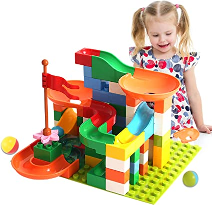 Locke Teddy Marble Run Building Blocks Construction Toys Set, Create Your Own Marble Maze Run Race Track Puzzle Game, Marble Race Track for Kids (74 PCS)