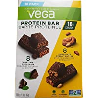 Vega Protein Bars Variety Pack, Crispy Mint Chocolate + Chocolate Peanut Butter Flavours - 16 Count x 35 g (560g)