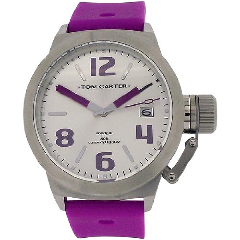 Tom Carter Edelstahl Unisexuhr weißes Datum-Zifferblatt violettes Silikonarmb.