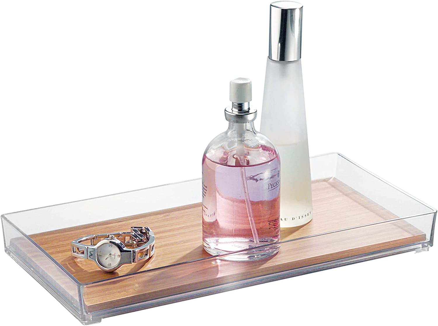 """iDesign Formbu Bamboo Vanity Tray, Guest Towel Board for Cosmetics, Makeup, Jewelry, Keys, Bathroom, Kitchen, Office, Countertops, Storage Organization, 5.2"""" x 10.3"""" x 1.1"""", Clear and Natural Wood"""