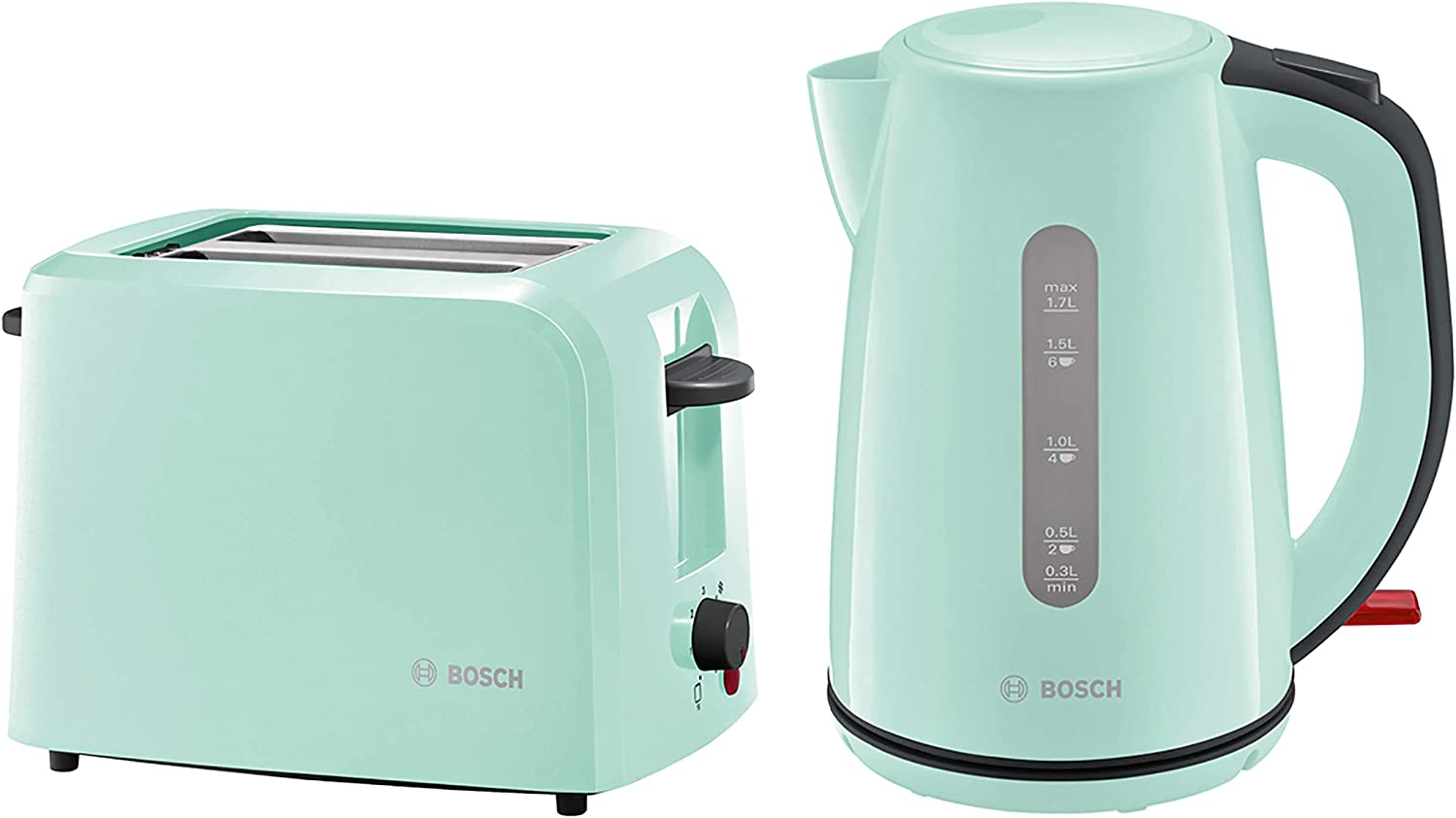 Bosch COMBO-3474 Country 1.7 Litre Kettle with Two Slice Toaster, Mint Green