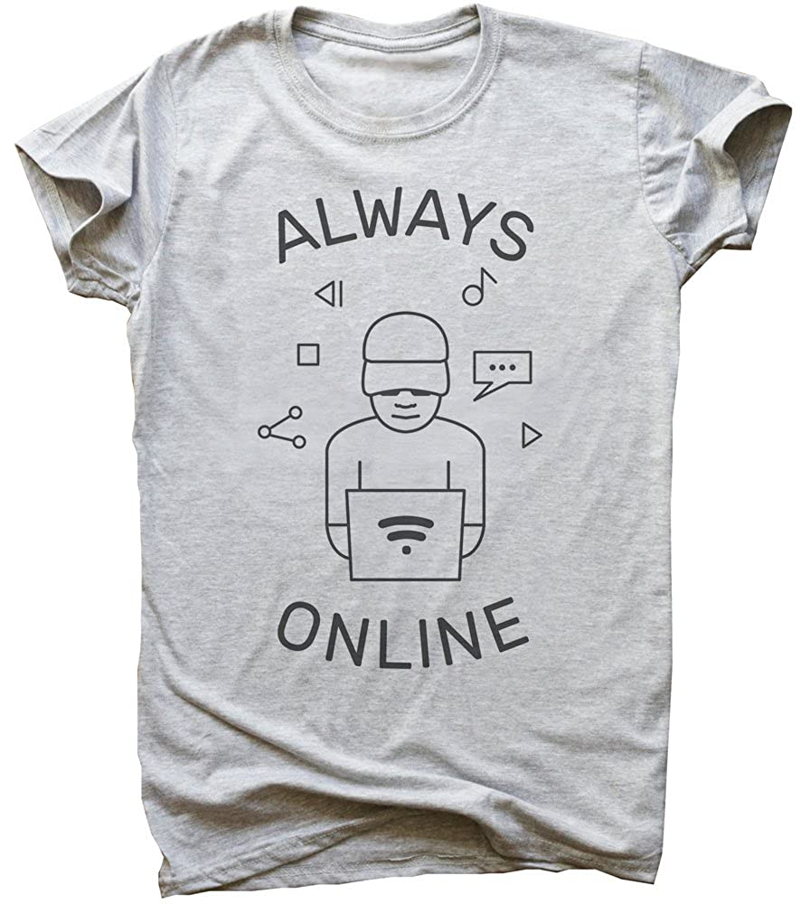 Always Online Boy with Computer Mens T-Shirt Extra Large Gray