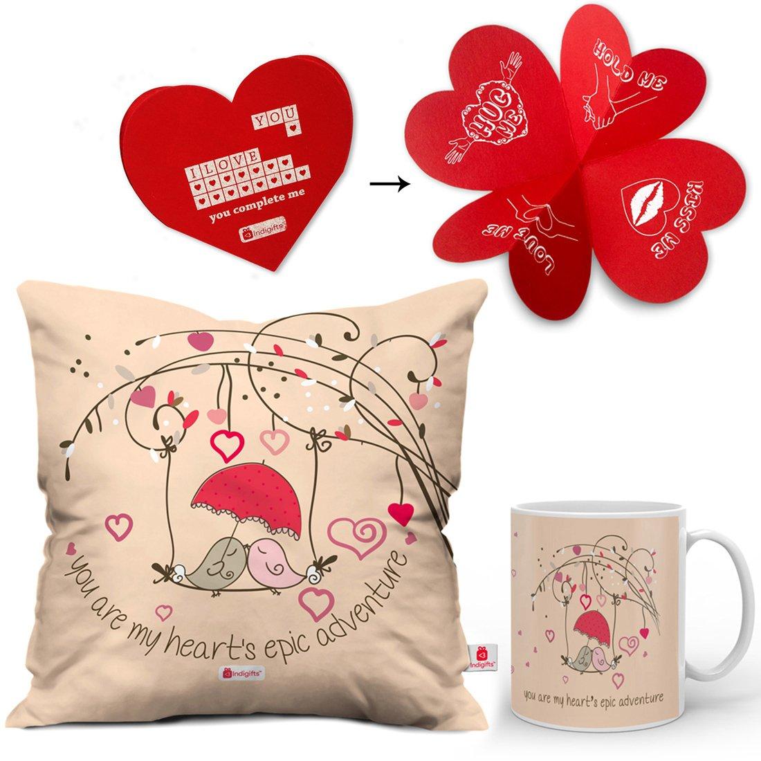 Valentine Gifts For Boyfriend Girlfriend Peach Love Birds Epic Adventure 12X12 Printed Filled Cushion Best Quality Ceramic Mug Gift Him Her Wife