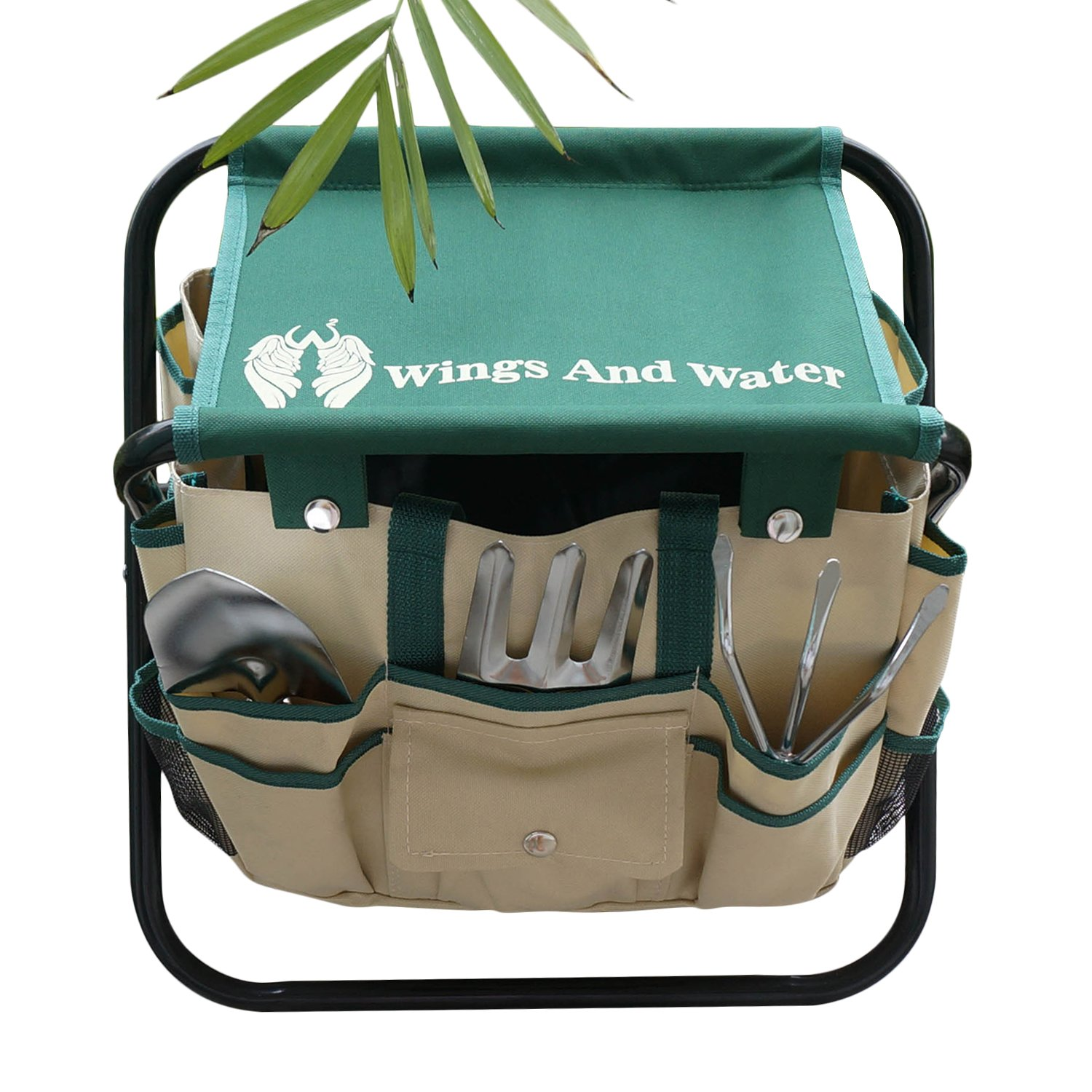 Wings and Water 7 Piece Garden Tool Set, All-In-One Tool Bag, Durable Folding Stool, Stainless Steel by Wings and Water (Image #2)