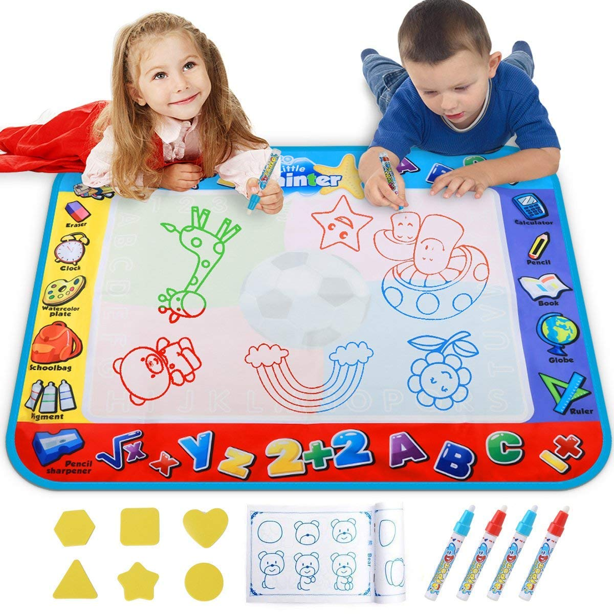 Alago Water Doodle Mat Kids Toys Large Aqua Mat Toddlers Painting Coloring Pad with 4 Colors Gifts for Girls Boys Age 2 3 4 5  Years Old 4 Pens Drawing Molds and Booklet Included