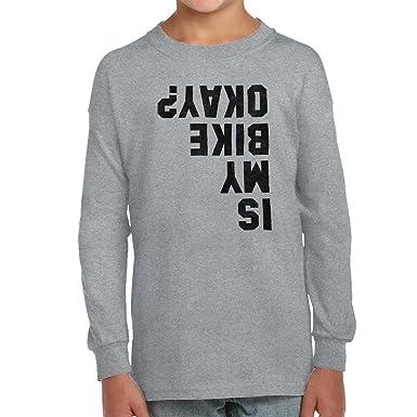 82cca5a79 Brisco Brands is My Bike Okay? Funny Motorcycle Biker Youth Long Sleeve  Shirt Sport Gray