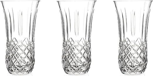 RCR cristal del vidrio de corte Opera Centro de mesa Vase - 250 mm - Pack de 3 decorativo de los floreros: Amazon.es: Hogar