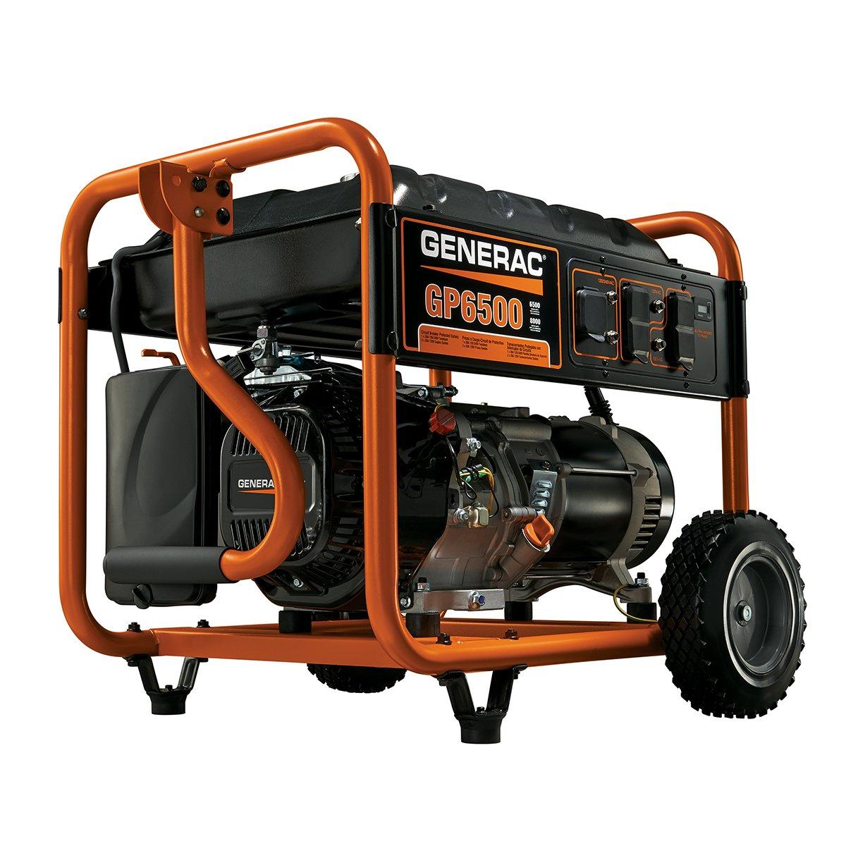 Amazon.com : Generac 5940 GP6500 6500 Running Watts/8000 Starting Watts Gas  Powered Portable Generator : Garden & Outdoor