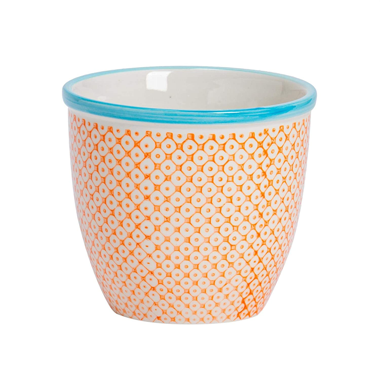 Nicola Spring Patterned Plant Pot Porcelain Indoor Outdoor Flower Pot – Orange Blue Print Design
