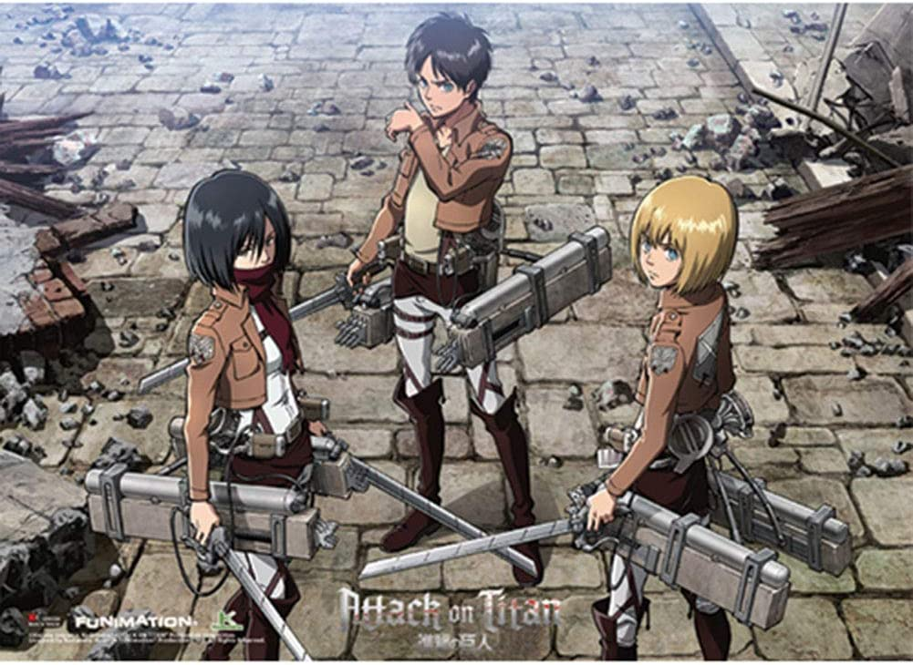 Amazon Com Ge Animation Attack On Titan Eren Mikasa And Armin Group Wall Scroll Posters Prints