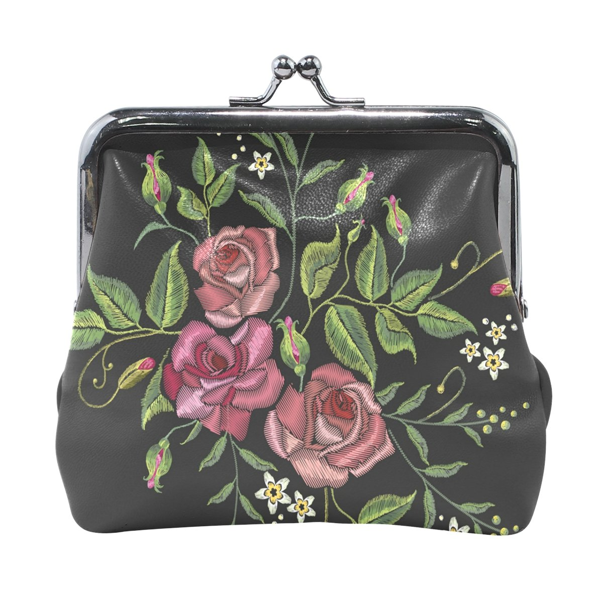 Coin Purse Embroidery Rose Flower Wallet Buckle Clutch Handbag For Women Gift