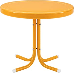 Crosley Furniture CO1011A-TG Griffith Retro Metal Outdoor Side Table, Tangerine