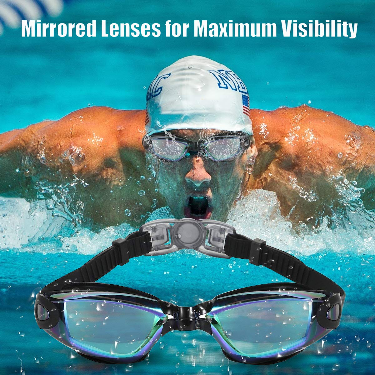 17057c01b70 Swimming Letsfit Swim Goggles No Leaking Anti-Fog Indoor Outdoor Swimming  Goggles with UV Protection Mirrored Clear ...
