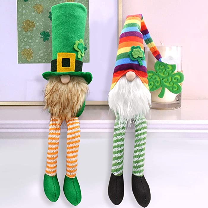 CiyvoLyeen St.Patrick's Day Gnome Leprechaun Swedish Nisse Rainbow Tomte for Irish March Saint Paddy's Day Gift Handmade Scandinavian Folklore Household Ornaments Shamrock Elf Dwarf Home Decorations
