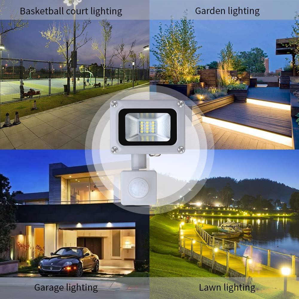 Wasserdicht IP65 LED Fluter Floodlight 1000LM 6500K Kaltes Wei/ß Au/ßen LED Flutlicht Scheinwerfer Licht f/ür Garten Hof Garage Sportplatz Energieklasse A + 10W LED Strahler mit Bewegungsmelder