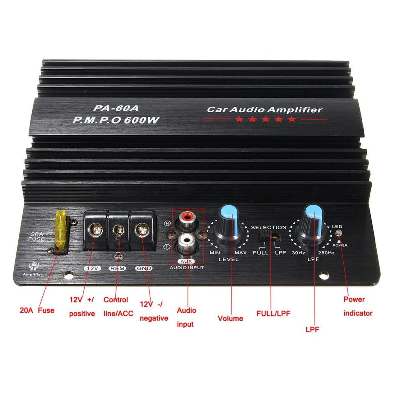Dooret Amplificador de Audio para automóvil de Alta Potencia 12V Mono 600W Amplificador de Subwoofers de bajo Poder PA-60A para Dibujo de Alambre de Moda ...