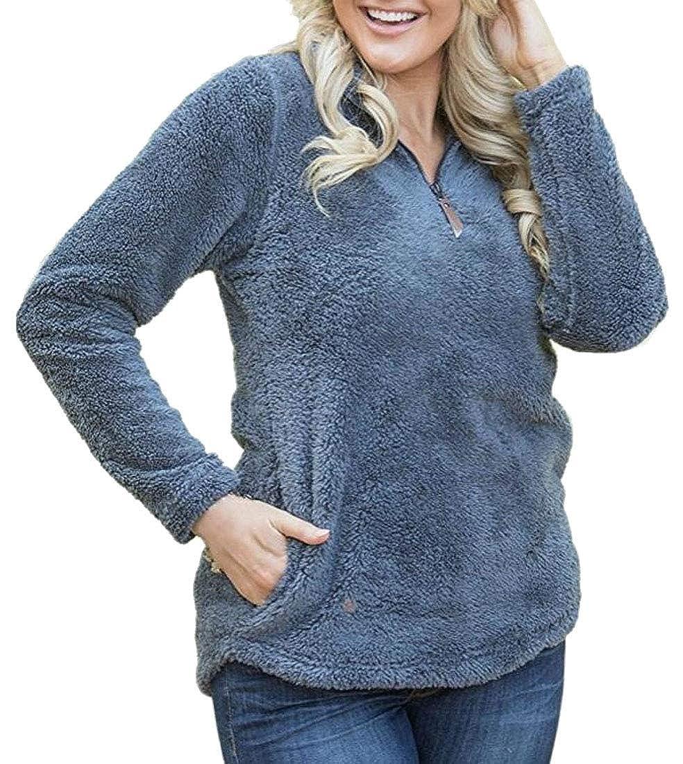 Gnao Womens Stylish Zipper Long Sleeve Pockets Pullover Sweatshirt