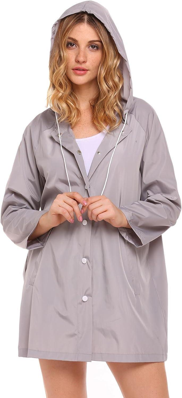 FastDirect Women Lightweight Waterproof Windbreaker Long Rain Hooded Jacket S-XXL