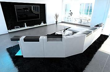 Sofa Dreams Xxl Wohnlandschaft Turino Cl Form Weiss Schwarz Amazon
