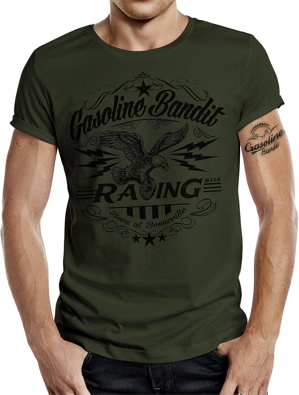 Gasoline Bandit Original Biker Racer T-Shirt Born in Bonneville Oliv