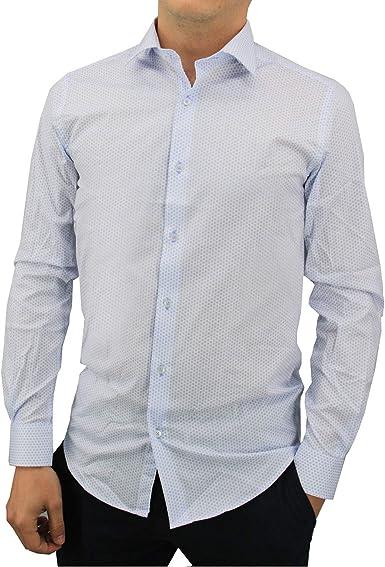 Meadrine - Camisa para Hombre, diseño Estampado, Color Azul Claro: Amazon.es: Ropa y accesorios