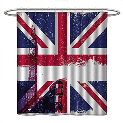 Anniutwo Union Jack Shower Curtains Sets Bathroom Grungy Aged UK Flag Big Ben Double Decker Country