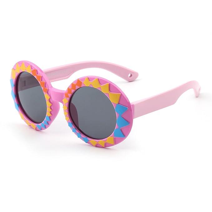 JM Niños Polarizado Goma Redondas Gafas de Sol Linda Chicos Niñas Hijos Años 3-12