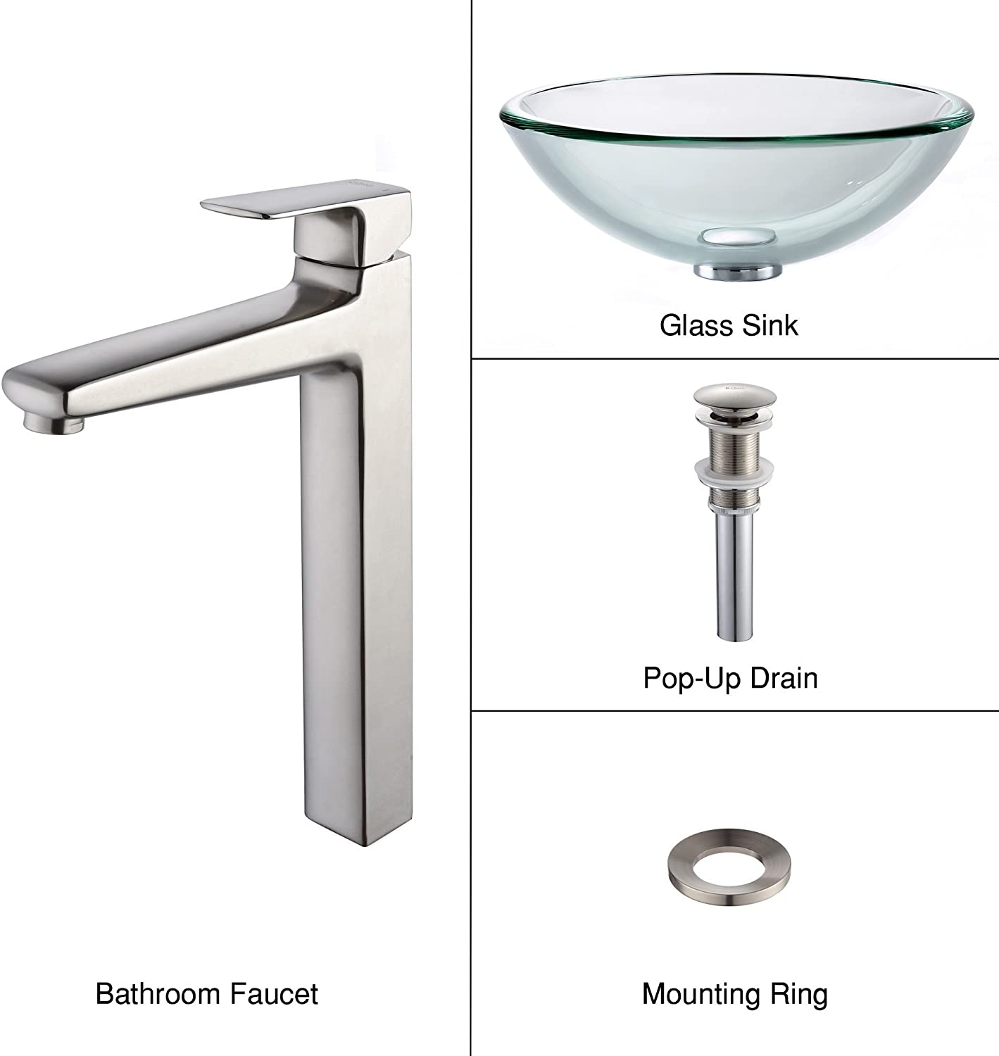 Kraus C-GV-101-19mm-15500BN Clear 19mm thick Glass Vessel Sink and Virtus Faucet Brushed Nickel