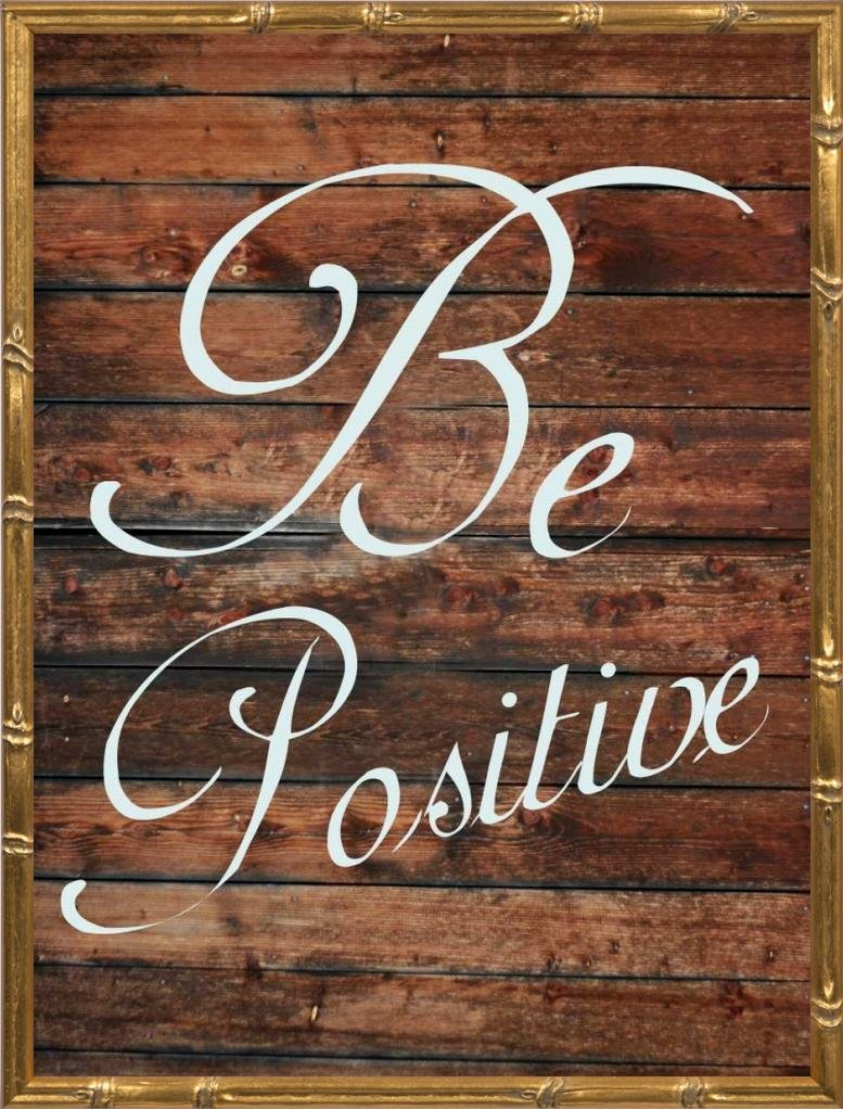 18x24 Be Positive by Lewis, Sheldon: Gold Bamboo SLB-RC-376A