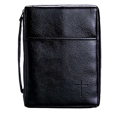 new Soft Black Embossed Cross with Front Pocket Small Leather Look Bible Cover with Handle