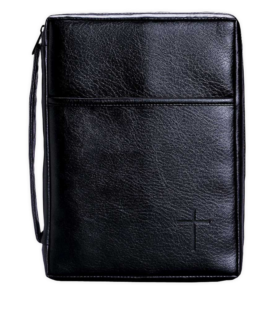 Soft Black Embossed Cross with Front Pocket Small Leather Look Bible Cover with Handle