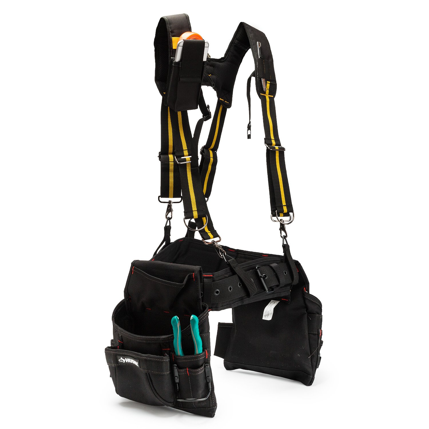 Tool Belt Suspenders|Padded Suspenders with movable phone holder Tape Holder Pencil holder,Flexible Adjustable Straps, suspenders Loop Attachments for carpenter electrician work Suspension Rig by Melo Tough (Image #8)