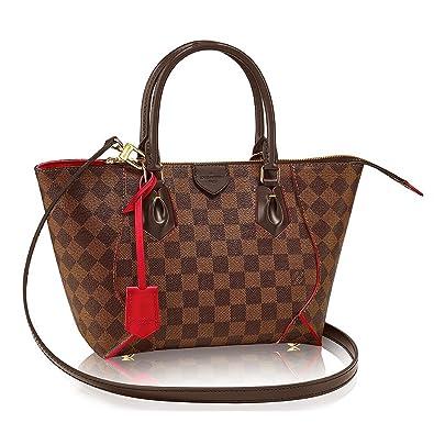 Amazon.com  Authentic Louis Vuitton Damier Caissa Tote PM Handbag  Article N41551 Cherry Made in France  Shoes 33296cc06d0b9
