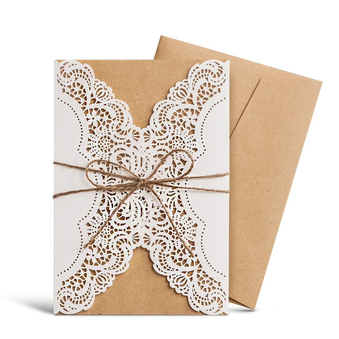 Amazon Wishmade Laser Cut Handmade Wedding Invitations Cards White 50 Pieces Kit For Marriage Engagement Birthday Bridal Shower With Rustic Rope: Homemade Wedding Invitation Design At Reisefeber.org