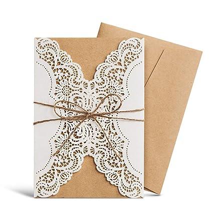 Amazon.com: Wishmade Laser Cut Handmade Wedding Invitations Cards ...