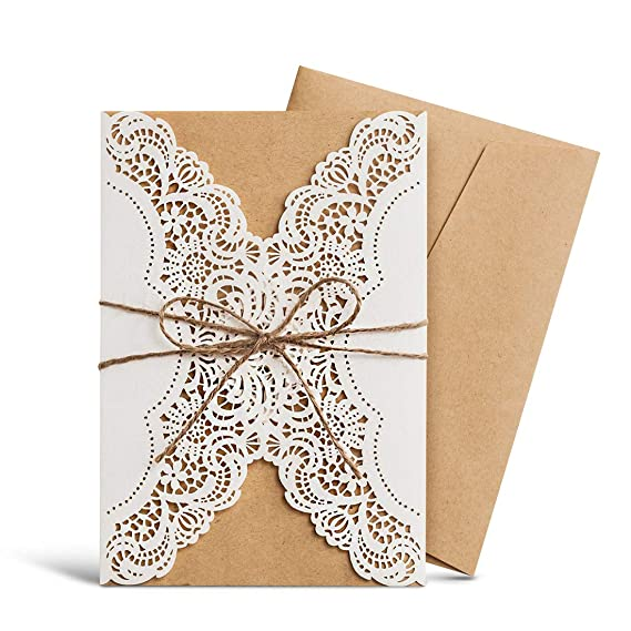 WISHMADE Hochzeit Einladungen Kits 20 Stück, ivory Lace Laser Schnitt mit Handgefertigt Seil für Ehe Quinceanera Brautschmuck