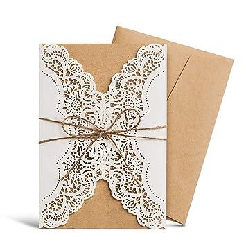 Amazon Com Wishmade Laser Cut Rustic Wedding Invitations With
