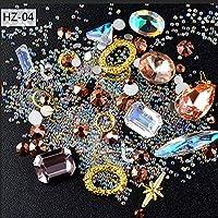 ICYCHEER Nail Art Decoration Mix Shape 3D Metal Studs Punk Rhinestone Mini Bead Ball Gemstones Diamond Glitter Chain DIY Fashion (HZ04)