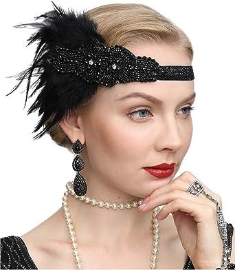 Black Silver /& White Feather Headpiece Vtg Headband Fascinator Flapper 1920s N61