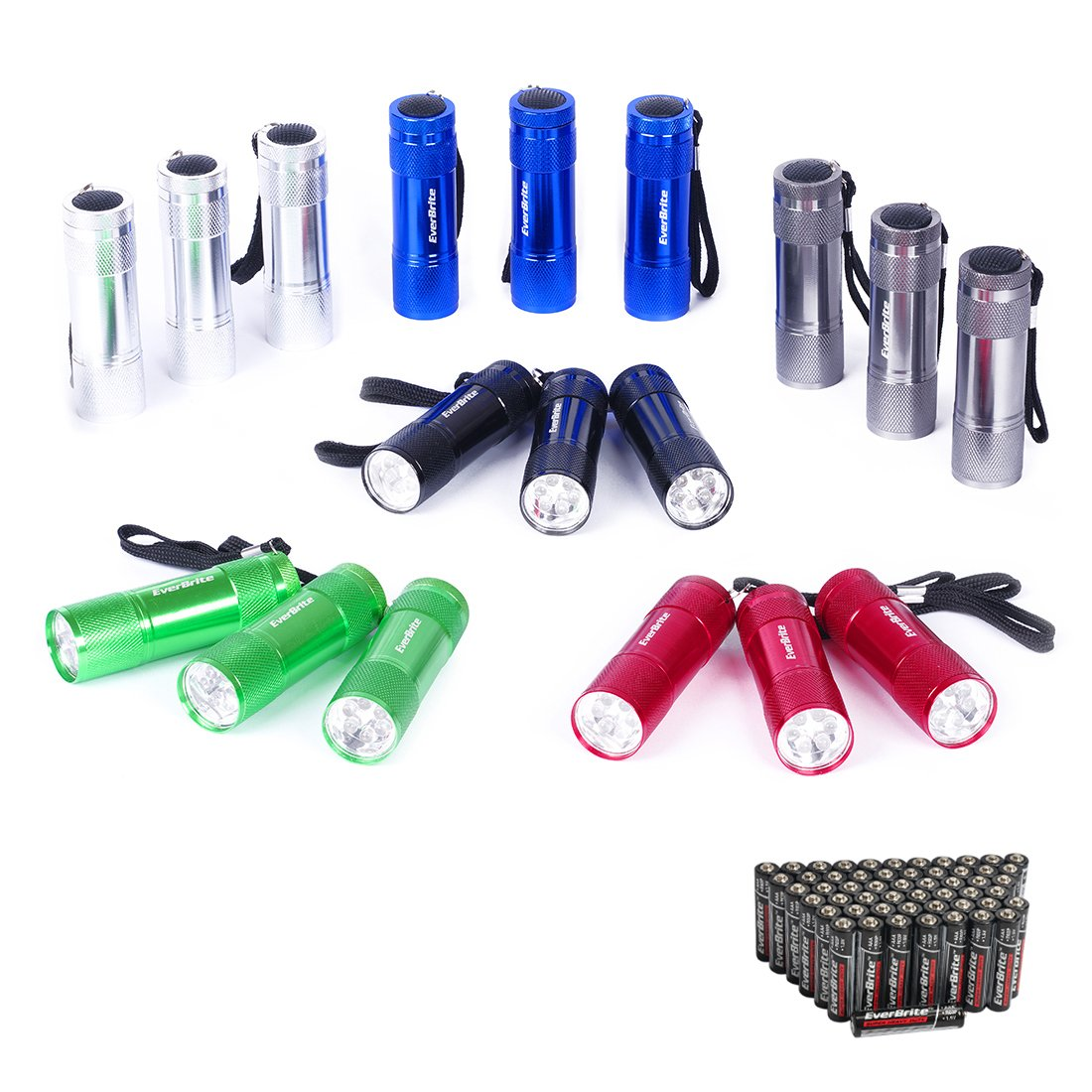 EverBrite Mini LED Flashlight 18-pack Set - Portable Flashlights Ideal for Camping, Night Reading, Cycling, BBQ, Party, Festivals, Backpacking, Traveling - Mini Torch Includes Lanyard & 54 x AAA Batte