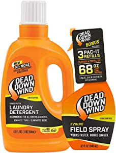 Dead Down Wind Exclusive Field Spray + Unscented Laundry Detergent Bundle | Ultimate Odor Eliminator for Hunting Gear and Clothes | Skin Safe