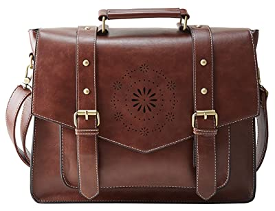 "ECOSUSI Women's Briefcase Messenger Laptop Bag PU Leather Satchel Work Bags Fits 14"" Laptop,Tan"