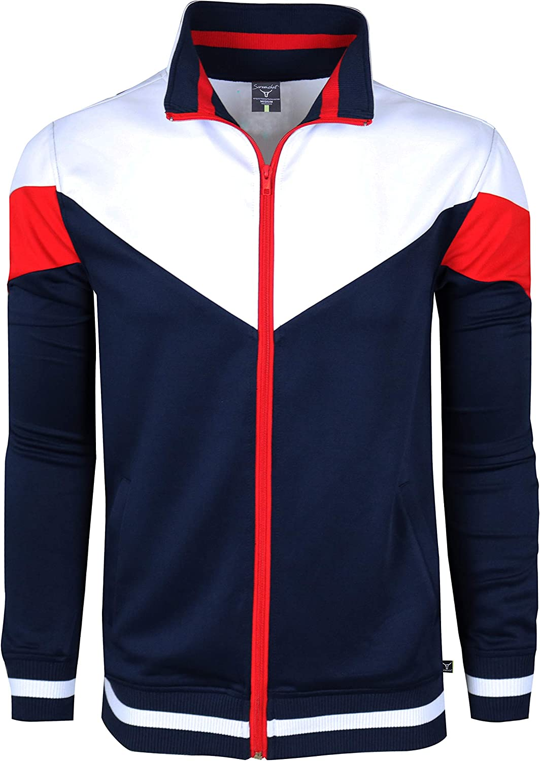 SCREENSHOTBRAND-F11956 Mens Urban Hip Hop Premium Track Jacket Athletic Color Block Fashion Sweatshirt-Navy-2XLarge