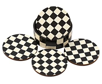 SouvNear Drink Coasters Chess Board Pattern   Black And White Coaster    Retro Wood Coaster Set