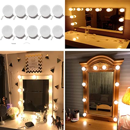 Led Lamps Hot Sale Diy Hollywood Style Led Mirror Light With Press Dimmer And Power Supply Makeup Mirror Vanity Led Light For Dressing Table