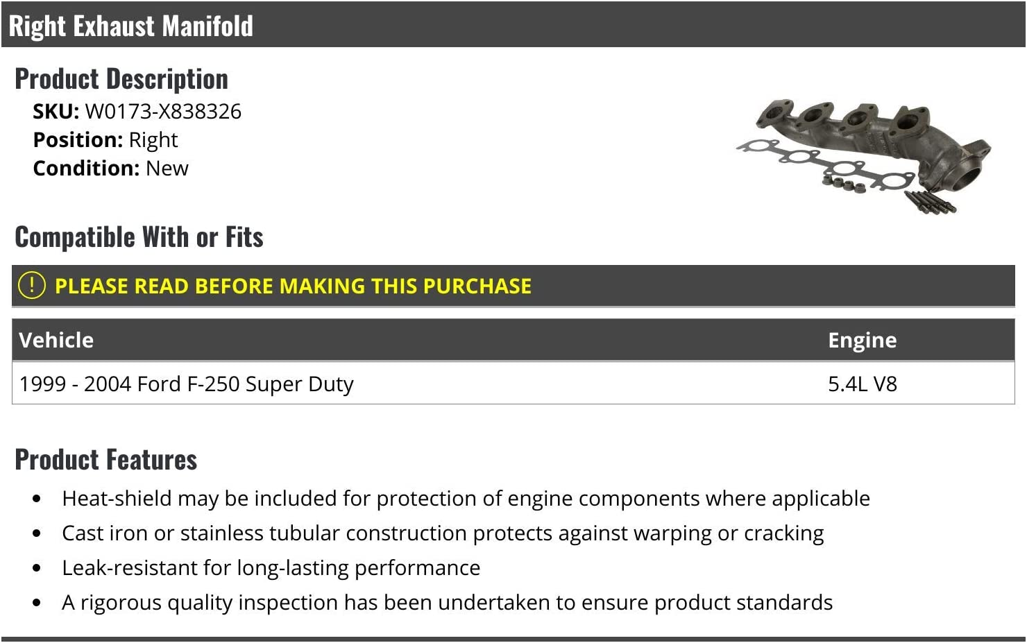 Right Passenger Side Exhaust Manifold Compatible with 1999-2004 Ford F250 Super Duty 5.4L V8