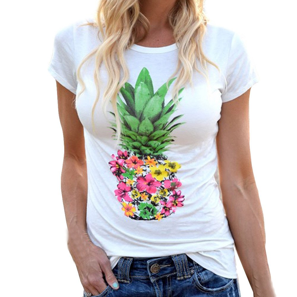 Libermall Women's Casual Summer Short Sleeve T-Shirts Fashion Pineapple Printing Loose Tunic Shirt Blouse Tops White