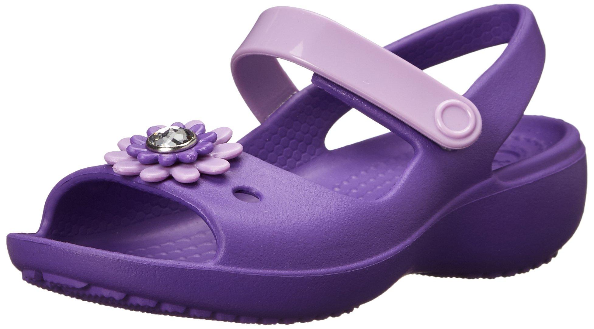 Crocs Keeley Mini Wedge Girls PS Sandal (Toddler/Little Kid),Neon Purple/Iris,12 M US Little Kid